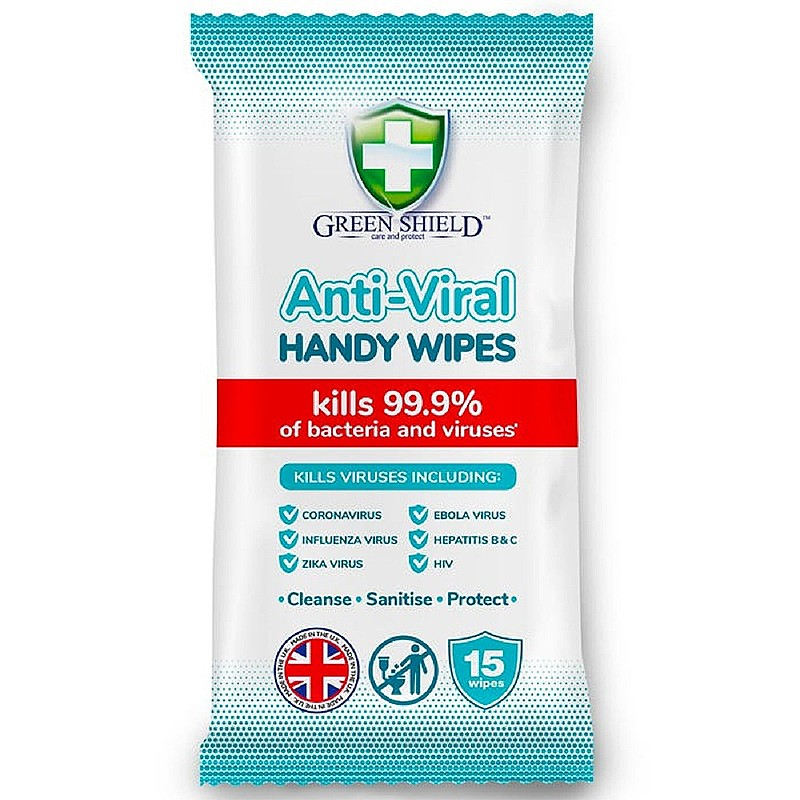 GREEN SHIELD Anti-Viral Alcohol Wipes for Hands