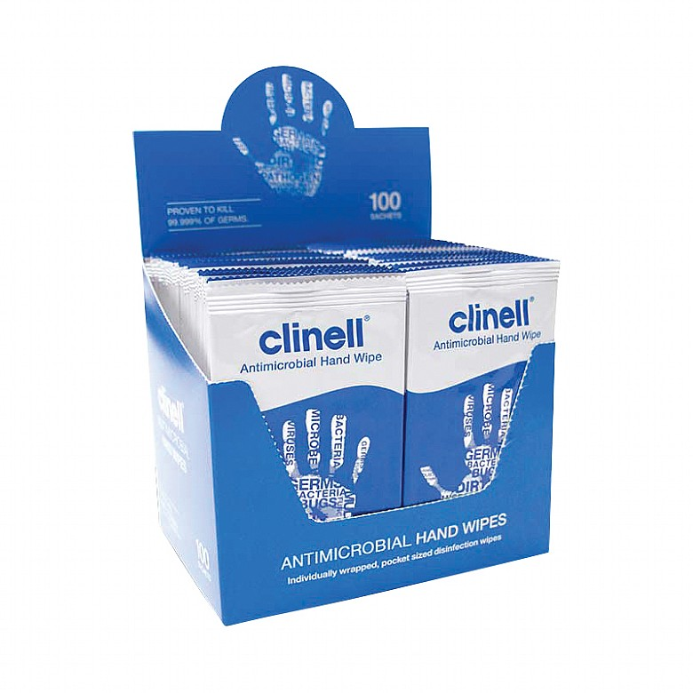 Clinell Antibacterial Hand Wipes Box of 100